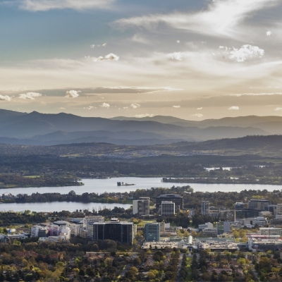 Panoramic view of Canberra and Lake Burley Griffin